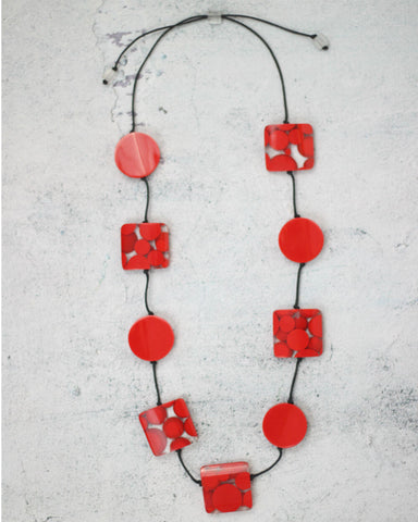 Red Polka Dot Valerie Necklace Sylca Designs Canada