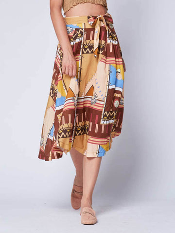 Aztec Patchwork Belted Skirt