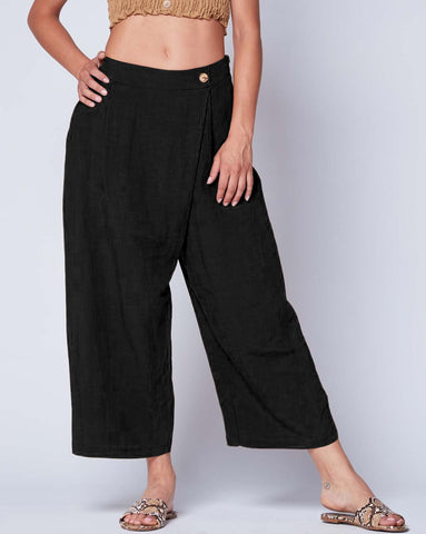Linen Wrap Front Culottes Bottoms - The Post Office by Shannon Passero. Fashion Boutique in Thorold, Ontario