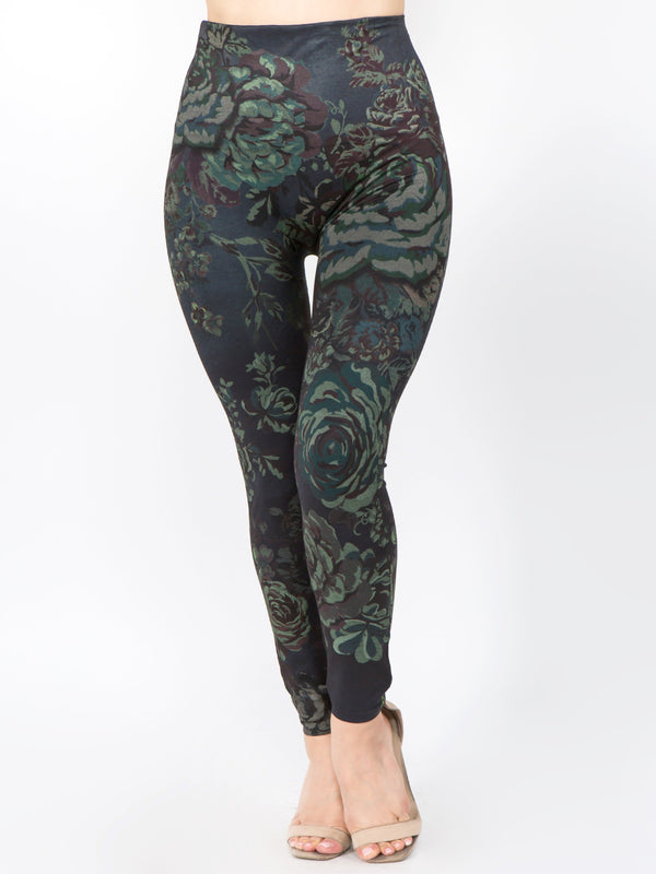 Rebel Rose Print Full Legging Bottoms - The Post Office by Shannon Passero. Fashion Boutique in Thorold, Ontario