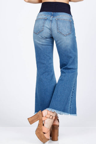 Ankle Wide Jeans with Fringe