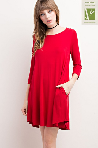 3/4 Sleeve Basic Pocket Dress
