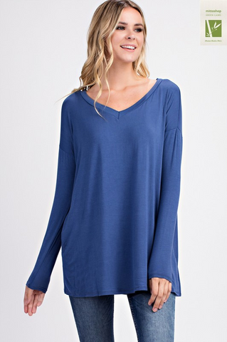 Vneck Long Sleeve Tunic Top