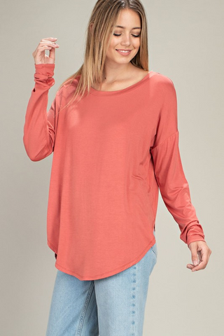 Multi Neck Round Hem Top