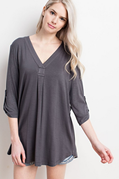Scrunched Button Tab Top Mittoshop Canada
