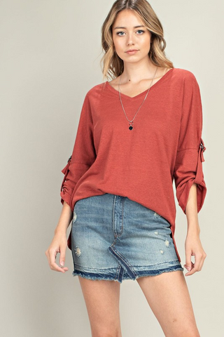 3/4 Sleeve Side Slit Top