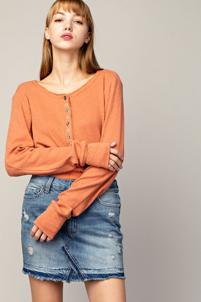 Slub Button Down Knit Top
