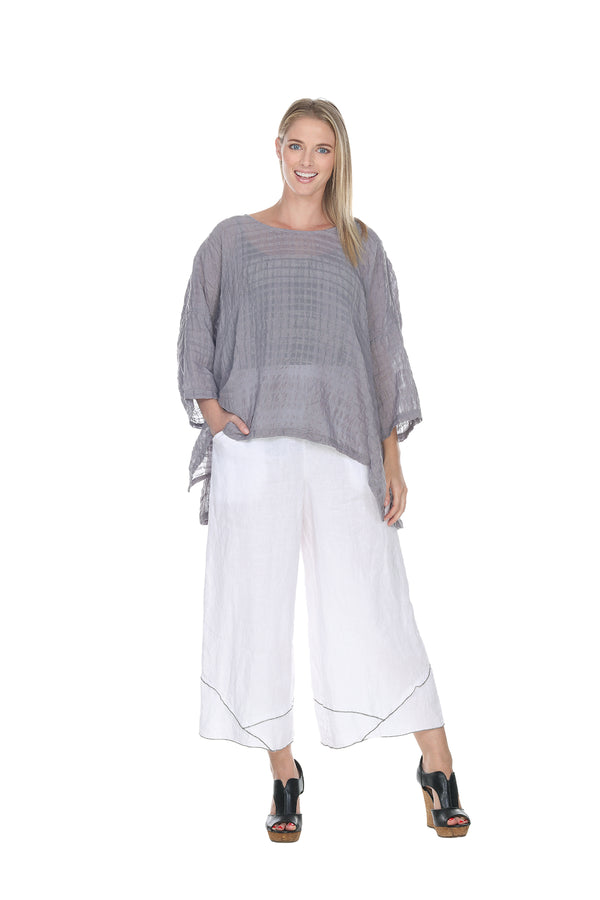 Gridded Cropped Top Linen - The Post Office by Shannon Passero. Fashion Boutique in Thorold, Ontario
