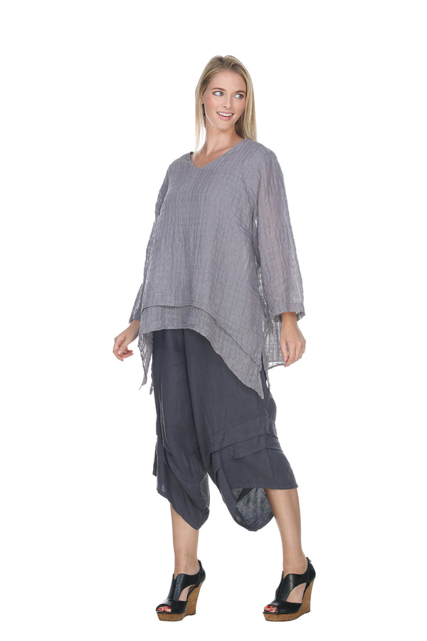 Gridded Vneck Top Linen - The Post Office by Shannon Passero. Fashion Boutique in Thorold, Ontario