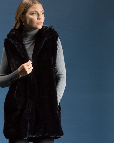 Hooded Faux Fur Vest Shannon Passero Design Canada