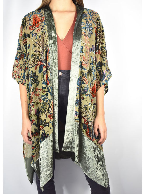 Velvet Print Kimono Tops - The Post Office by Shannon Passero. Fashion Boutique in Thorold, Ontario