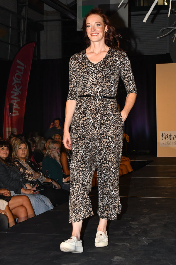 3/4 Sleeve Leopard Romper Consignment Product - The Post Office by Shannon Passero. Fashion Boutique in Thorold, Ontario
