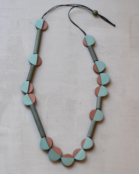 Taupe and Aqua Chole Necklace Sylca Designs Canada