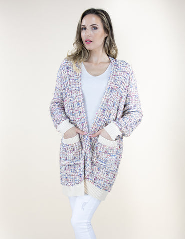 Patterned Pocket Cardigan