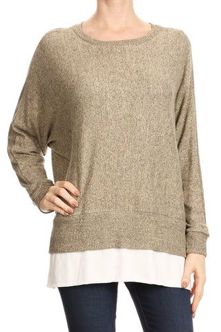 Brush Crepe Double Layer Top