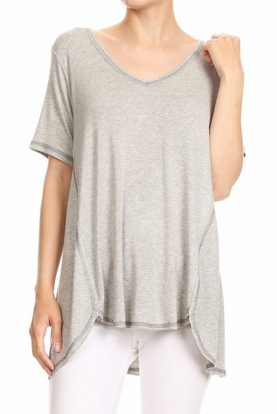HiLo Short Sleeve Vneck Top