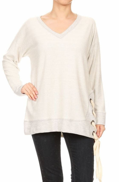 L/S Side Eyelet Lace Top Tops - The Post Office by Shannon Passero. Fashion Boutique in Thorold, Ontario