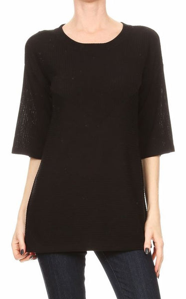 Rib Round Neck Wide Sleeve Top Freeloader Canada
