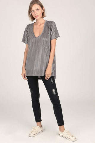 Stripe Velvet Top with Pocket