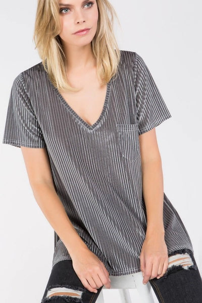 Stripe Velvet Top with Pocket by POL clothing