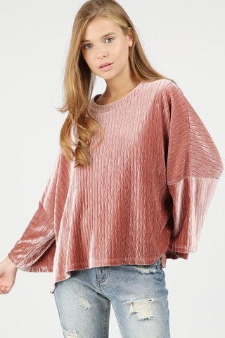 Cable Velvet Oversized Top
