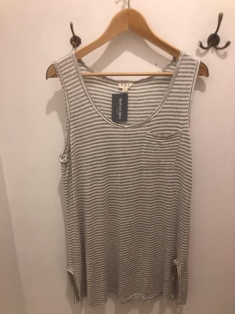 Striped Long Tank with Pocket Tops - The Post Office by Shannon Passero. Fashion Boutique in Thorold, Ontario