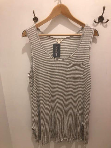 Striped Long Tank with Pocket