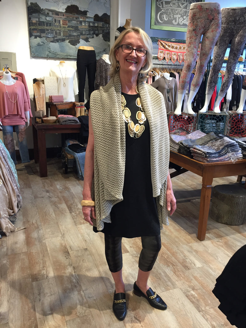 Open Knit Shawl Vest Tops - The Post Office by Shannon Passero. Fashion Boutique in Thorold, Ontario