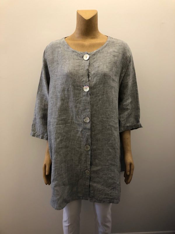 Button Jacket Linen - The Post Office by Shannon Passero. Fashion Boutique in Thorold, Ontario