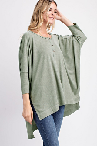 Thermal Henley Oversized Top