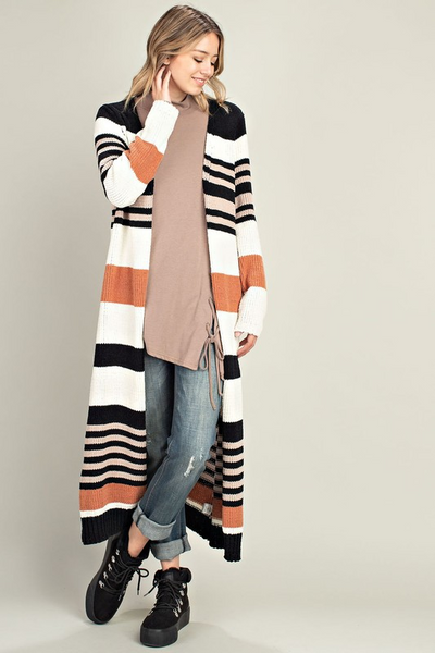 Striped Longline Sweater Cardi