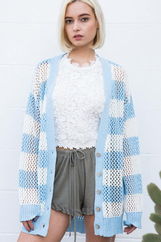 Open Weave Stripe Cardi Tops - The Post Office by Shannon Passero. Fashion Boutique in Thorold, Ontario