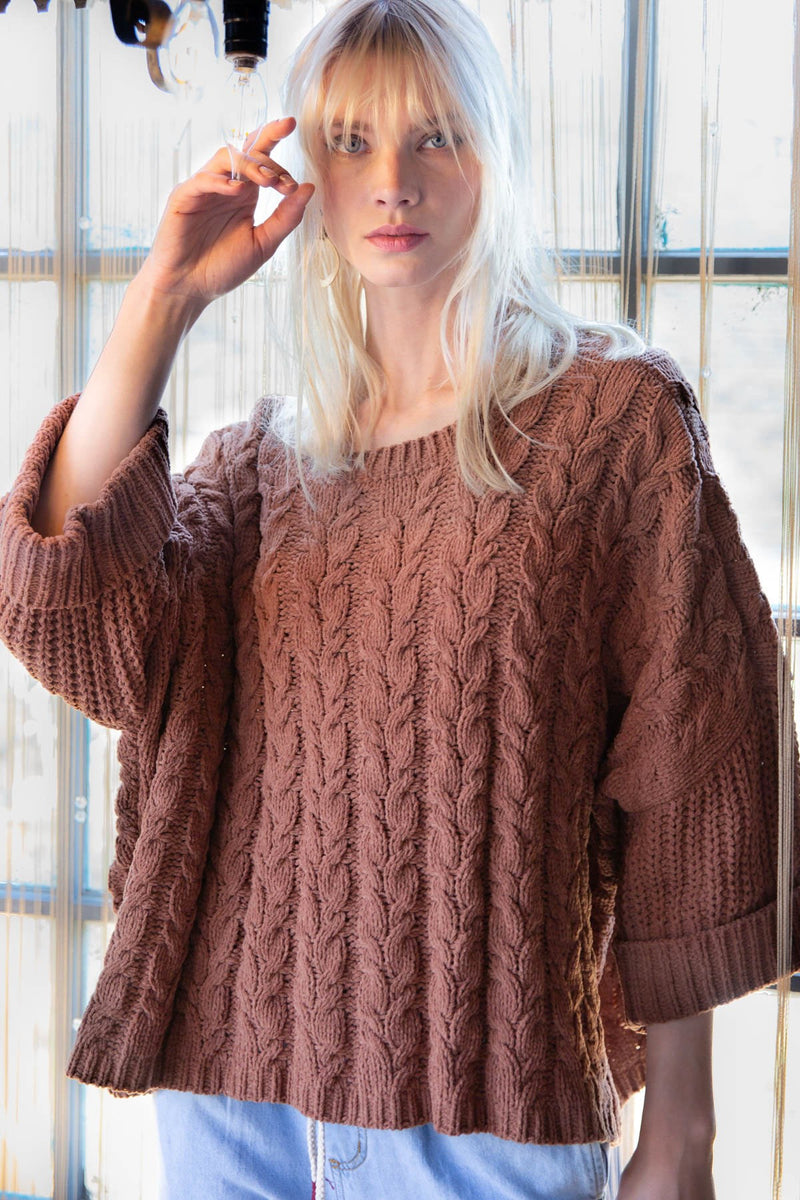 Oversized Cable Knit Pullover Tops - The Post Office by Shannon Passero. Fashion Boutique in Thorold, Ontario