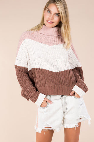 Colourblock Rib Turtleneck