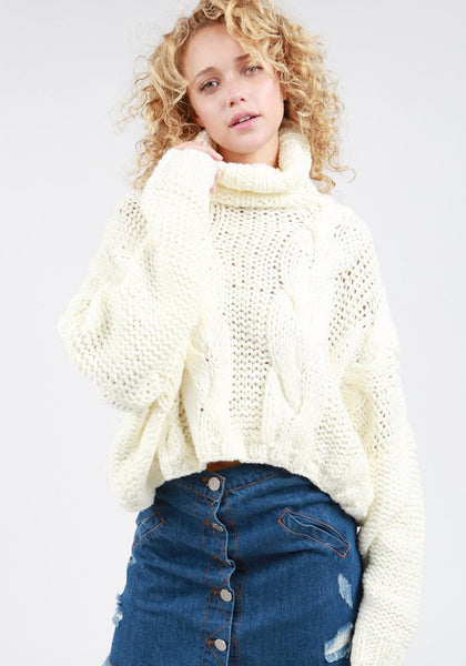 Crop Cable Knit Turtleneck