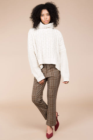 Cableknit Turtleneck Sweater