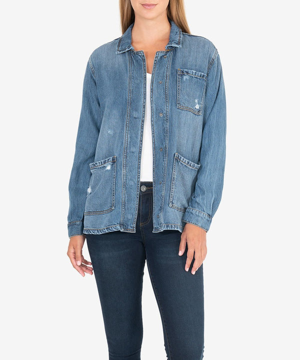 Llysa Denim Jacket Denim - The Post Office by Shannon Passero. Fashion Boutique in Thorold, Ontario