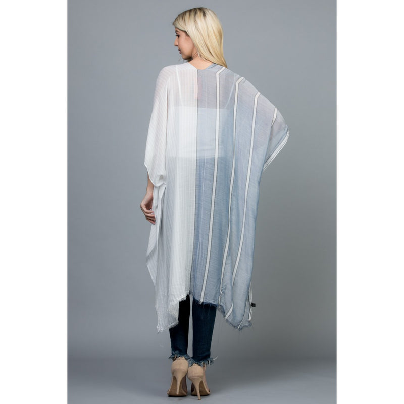 Light Blue Stripe Kimono Tops - The Post Office by Shannon Passero. Fashion Boutique in Thorold, Ontario