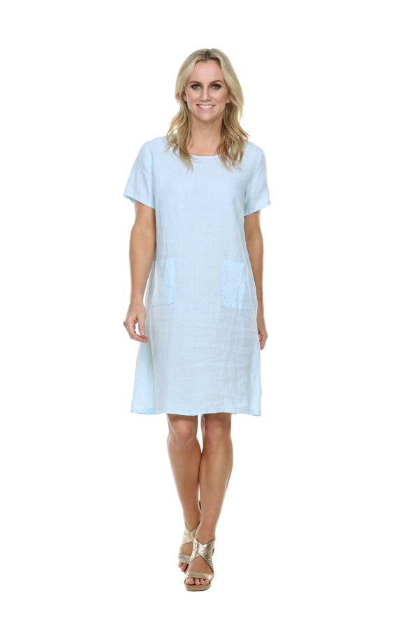 Linen Crew S/S Dress Linen - The Post Office by Shannon Passero. Fashion Boutique in Thorold, Ontario