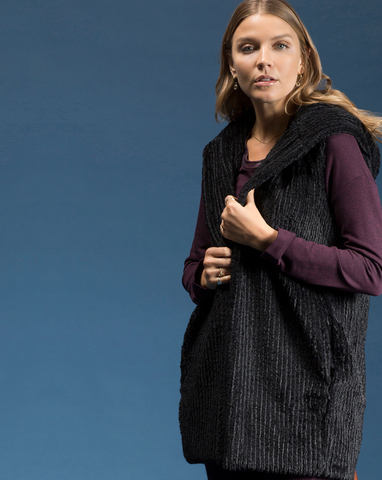 Fur Hooded Vest by Shannon Passero Design in Black Stripe