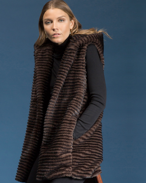 Fur Hooded Vest by Shannon Passero Design in Brown