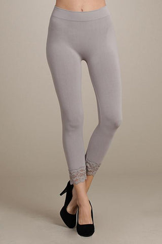 Lace Trim Cropped Leggings