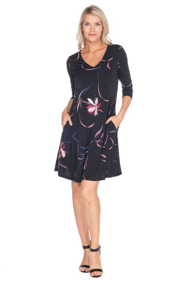 3/4 Sleeve Swing Dress Dresses - The Post Office by Shannon Passero. Fashion Boutique in Thorold, Ontario