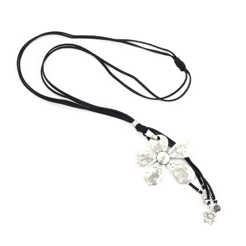 Long Flower Suede Necklace