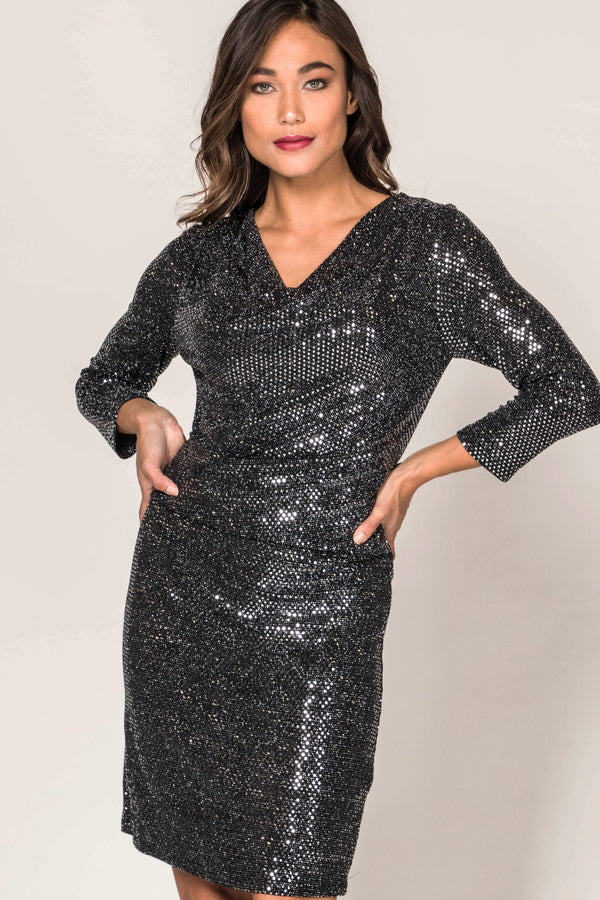 Sequin Draped Dress Dresses - The Post Office by Shannon Passero. Fashion Boutique in Thorold, Ontario