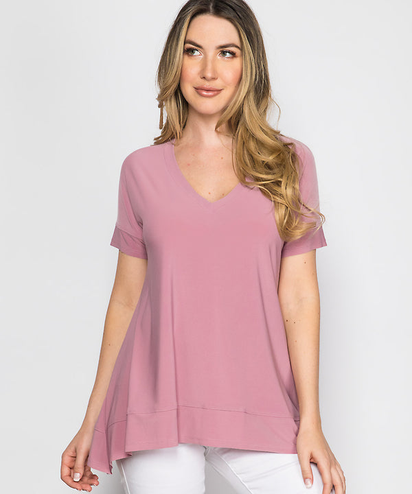 Short Sleeve Vneck Top Tops - The Post Office by Shannon Passero. Fashion Boutique in Thorold, Ontario