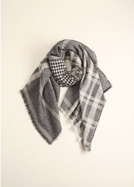 Patchwork Houndstooth Scarf Look by M Canada