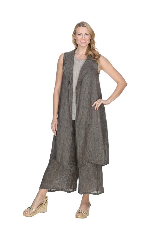 Long Linen Vest Linen - The Post Office by Shannon Passero. Fashion Boutique in Thorold, Ontario