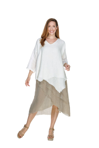 Linen Raw Fringe Top