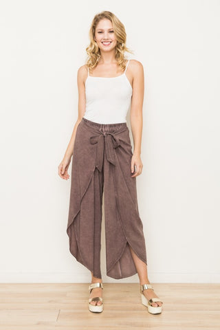 Washed Tie Back Tulip Pant